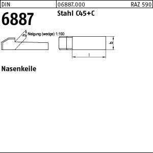 DIN 6887 C45K 10 x 8 x 50 VE=S Nasenkeile 25 Stück