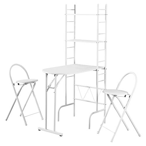 8th Street Living I 1010 3-Piece Fold Up Dining Table Set - Includes Kitchen Table and 2 Stools - White Metal Small Dining Table Set
