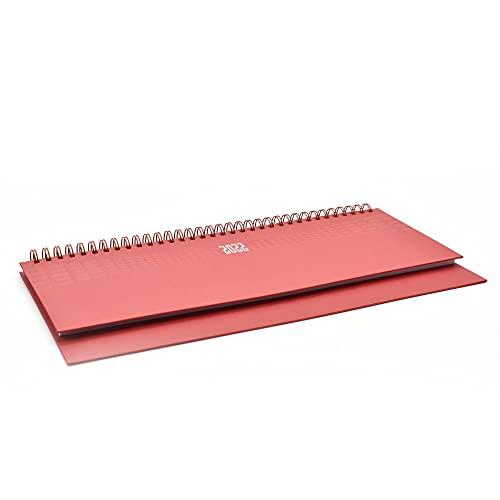 takestop Planning da Tavolo Agenda 2022 Rosso Settimanale Spirale Spiralato 30x15 CM Diario Blocco Notes Copertina Rigida