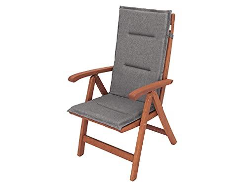 Cojín para sillón con respaldo alto, cojín para sillón, tumbona de jardín, dimensiones del asiento: 45 x 45 cm, respaldo alto 69 cm, cojín de jardín, color antracita