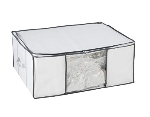 WENKO 7450022100 Vakuum Soft Box L, Vakuum Kleideraufbewahrung, platzsparend, Polypropylen, 65 x 25 x 50 cm, Weiß