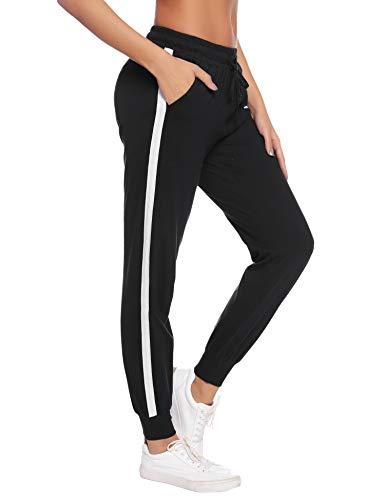 Aibrou Damen Sporthose Jogging Hose Lang Baumwolle Sportbekleidung Schlafanzughose Pyjamahose Nachtwäsche Schwarz-2 XL