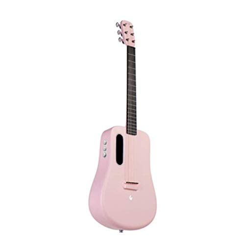 KEPOHK Guitarra Guitarra de fibra de carbono Instrumento eléctrico acústico 36 pulgadas Viajes LAVA MUSIC con bolsa/púa/Cable USB 36 pulgadas FreeBoostPink