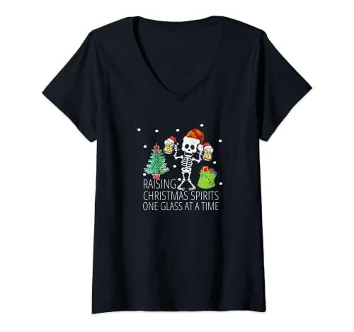 Mujer Pijama Esqueleto De Navidad Top Divertido Santa Navidad Cerveza Adulto Camiseta Cuello V