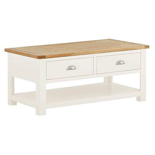 Roseland Furniture Ltd Padstow White 2 Drawer Coffee Table - Painted Living Room Table