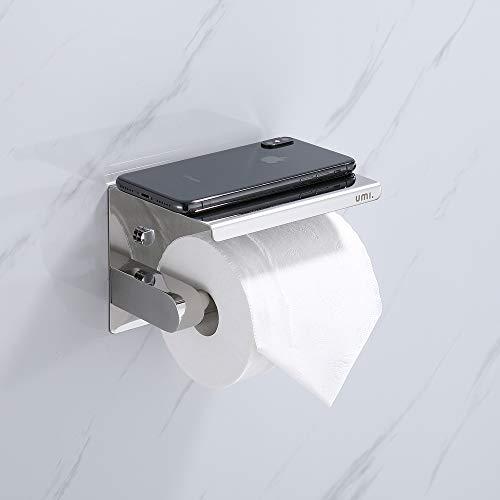 Umi. By Amazon - Portarrollos para Papel Higiénico Hecho de Acero Inoxidable 304 con Estante para Teléfono Móvil para WC Baño y Cocina Plateado