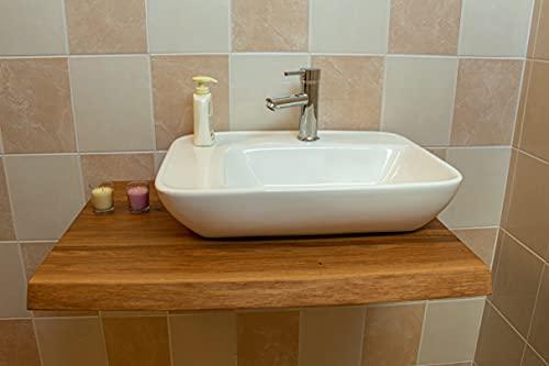 Waschtischplatte aus Holzplatte Massiv Eiche, Baumkante Geölt Waschtisch Holz, Waschtischkonsole für Aufsatzwaschbecken und Waschschalen, Badmöbel Tischplatte, Badezimmer möbel (60 x 45 cm)