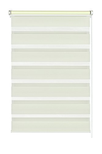 GARDINIA Doppelrollo zum Klemmen oder Kleben, Duo-Rollo/ Seitenzugrollo, Transparente und blickdichte Streifen, Alle Montage-Teile inklusive, Creme, 120 x 150 cm (BxH)