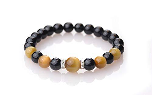 Pulseras de energía Positiva Piedras semipreciosas Naturales para Hombre Mujer Equilibrio Chakras Yoga Reiki meditación Kundalini (Ágata Negra Y Ojo De Tigre Oro)