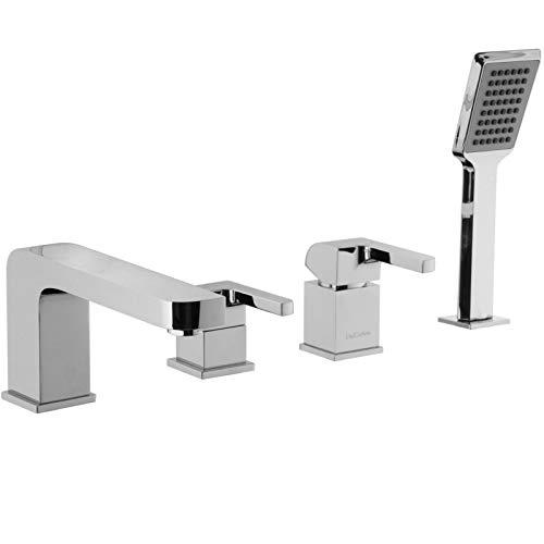 PaulGurkes 4-Loch Wannenrandarmatur Wannenkombination eckig Wannenarmatur mit Handbrause Einhandmischer mit Umsteller Badewannenarmatur für den Wannenrand Wasserhahn für die Badewanne Mischbatetrie