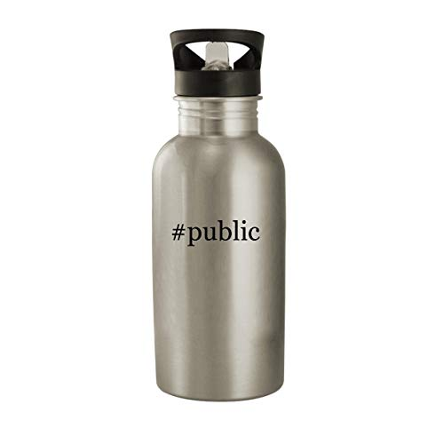 #public - Stainless Steel Hashtag 20oz Water Bottle, Silver