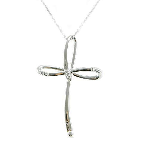 Recarlo collana donna in oro bianco con pendente croce con diamanti