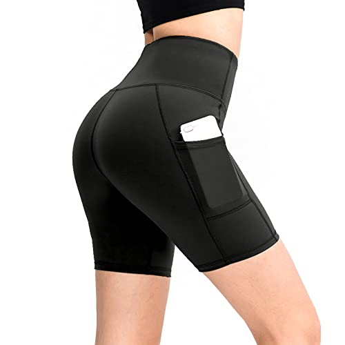 DOUBFIVSY Shorts de Yoga Femme, Shorts de Sport Taille Haute, Pantalon de Sport Court Leggings avec Poche pour Entraînement Cycliste Exercices Pilatesà