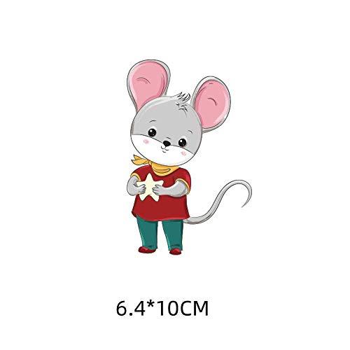 5×Parches de transferencia térmica Adecuado para chaquetas, camisetas, jeans, sombreros, ropa, estilo de ratón tonto de dibujos animados