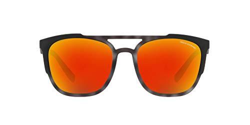 Armani Exchange Gafas de sol cuadradas de iridio no polarizadas para hombre, color gris mate, 56,0 mm