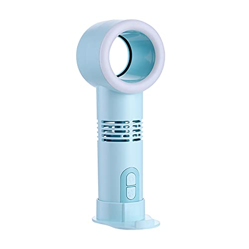 LWZ Ventilatore Senza Foglie, Mini Ventilatore Portatile, Illuminazione Portatile, Porta Cellulare, Adatto per Ufficio, Camera da Letto, Tempo Libero,Blu
