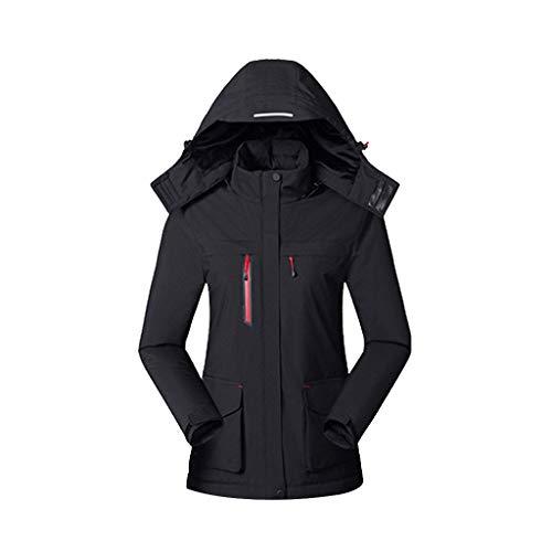 FNKDOR USB Beheizbare Jacke Damen Slim Heizjacke Mit Kapuze Wasserdicht Winddicht Warm Winterjacke für Outdoorarbeiten Ski Wandern Schwarz L