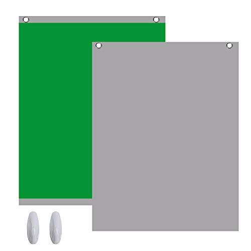 Green Screen 2in1 Fotostudio Hintergrund Fotohintergrund 1,5x2m Grün Grau für YouTube Video