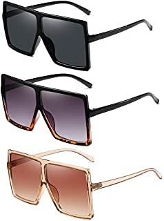 Firtink 3 Pares de Gafas de Sol Retro de Montura Grande, Gafas de Sol de Montura Grande con Estampado de Leopardo, Gafas de Sol de Moda, Gafas Retro para Hombres y Mujeres