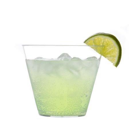 Pack de 40 tazas/vasos/copas de postre de plástico duro, de estilo antiguo de moda para fiesta, –transparente– de 255 ml