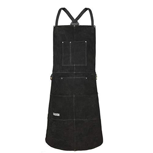 LeaSeek Leather Welding Apron,Heat & Flame-Resistant Heavy Duty Work Apron with 6 Pockets-Black