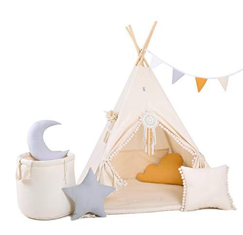 Golden Kids Kinder Spielzelt Teepee Tipi Set für Kinder drinnen draußen Spielzeug Zelt Indianer Indianertipi Tipi mit & ohne Zubehör (mit Zubehör, Beiger Wolf)