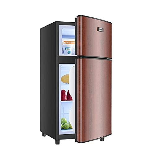 H.Slay Congelador Independiente de 42L SHKUU Control de Temperatura del refrigerador de Doble Puerta de Baja energía con compresor Congelador de partición Ajustable de bajo Ruido