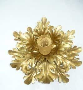 Plafoniera in ferro battuto con foglie color oro ad una luce