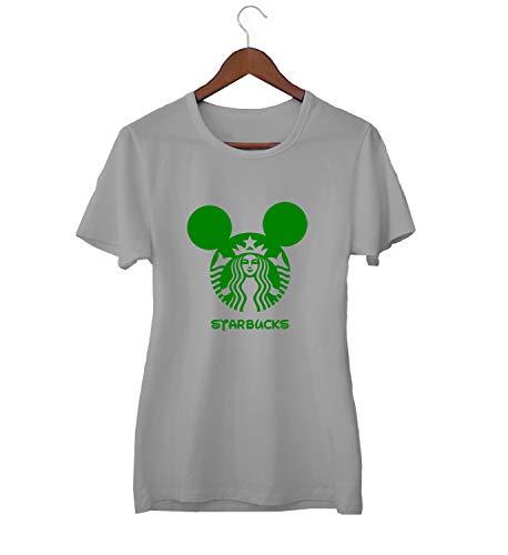 Starbucks Mickey Logo Mix_KK015691 Shirt T-Shirt Tshirt for Women Damen Gift for Her Present Birthday Christmas - Women's - Medium - Grey
