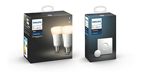 Philips Hue White, Lampadine LED Intelligenti, Attacco E27, 9W, 2 Pezzi [Classe di efficienza energetica A+] con Philips Hue Smart Button, Telecomando Controllo Illuminazione Hue