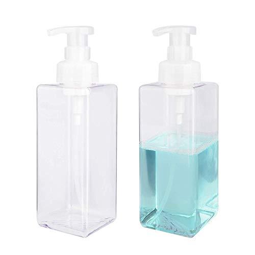 Set da 2 Schiuma di Sapone Dispenser 650ml plastica Sapone Liquido contenitori per Bagno, Cucina, sapone liquido, shampoo, detergente per il corpo - Trasparente