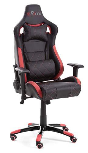 MC Racing Nova Bureaustoel, polyurethaan, PVC, nylon, zwart/rood, B/H/D ca. 74/125-135/54 cm.