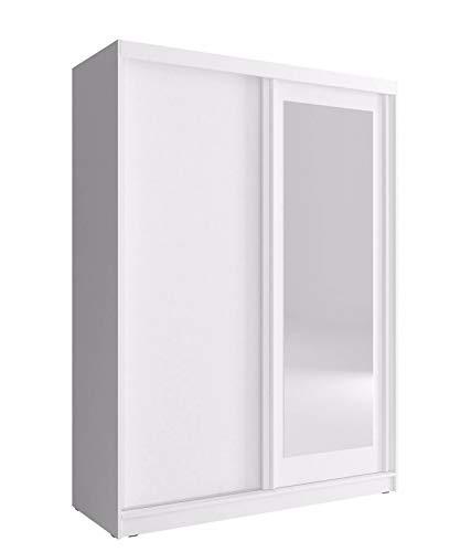 PSK Armario pequeño con 2 puertas correderas para dormitorio con espejo, luz blanca de 150 cm, color blanco