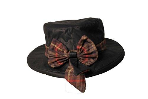 Thelma - Damen Outdoor-Hut mit großer Schleife - Kariertes Band - Dunkelblau - Größe XS (56 cm)