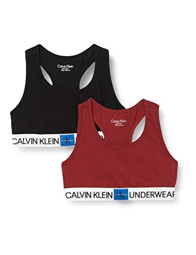Calvin Klein 2pk Bralette Ropa interior,Rojo ( 1rhubarb/1pvhblack ) , 14-16 Unisex...