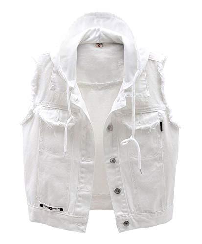 CYSTYLE Damen Jeansweste Jacke Ärmellos Einfache Beiläufige Jeansweste Denim Weste mit Kapuze in Weiß (Weiß, XL)