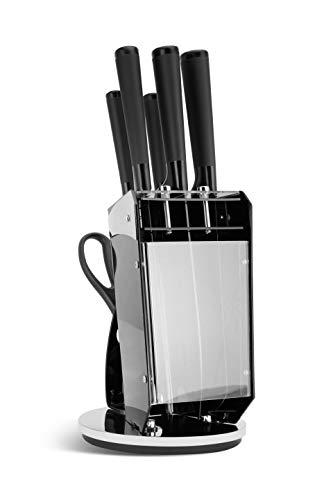 Edenberg EB-920 - Juego de cuchillos con tijeras (soporte giratorio, acero al carbono de alta calidad, muy duro)