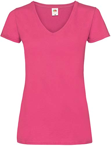 Fruit of the Loom Valueweight T-Shirt für Damen mit V-Ausschnitt, Pink (Fuchsia), 3 of XL