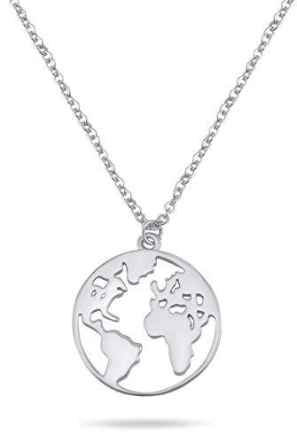 Nuoli® Weltkugel Halskette für Damen (45+5cm) 925 Sterling Silber, verpackt in einer Werkstatt für Menschen mit Behinderung