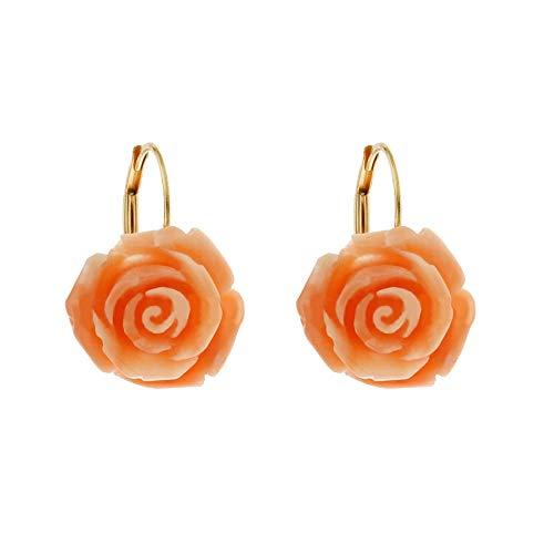 Orecchini In Oro Giallo 18k 750/1000 A Forma Di Rose In Corallo Autentico Da Donna