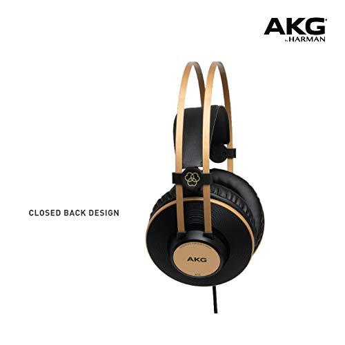 Closed Back vs Open Back Headphones - AKG Pro Audio K92 Over-Ear, Closed-Back, Studio Headphones, Matte Black and Gold