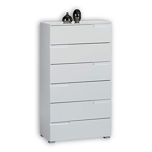 SPICE Kommode in Hochglanz Weiß - Modernes Sideboard mit viel Stauraum für Ihren Wohnbereich - 65 x 119 x 40 cm (B/H/T)
