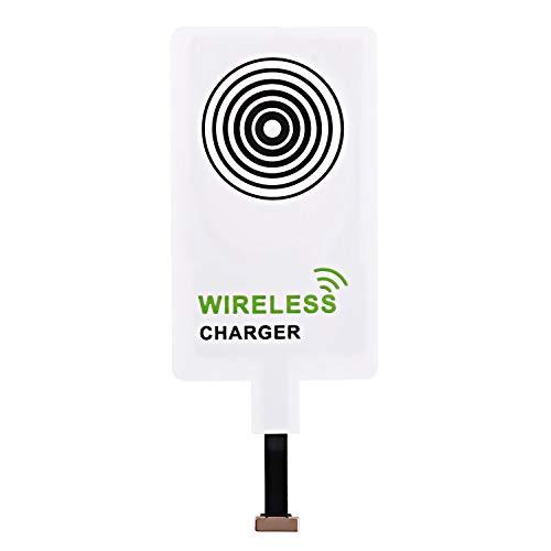 Beautyshow Wireless Qi-Empfänger mit Ladefunktion, kabelloser Ladegerät Adapter für Samsung Galaxy, Sony, LG, MEIZU, alle Android Handye & Geräte mit Universal Micro-USB-Schnittstelle - Weiß