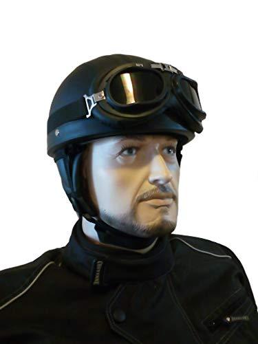 CHEYENNE Retro Oldtimer Helm mit PU-Leder bezogen und Fliegerbrille J2 (M (57/58 cm))