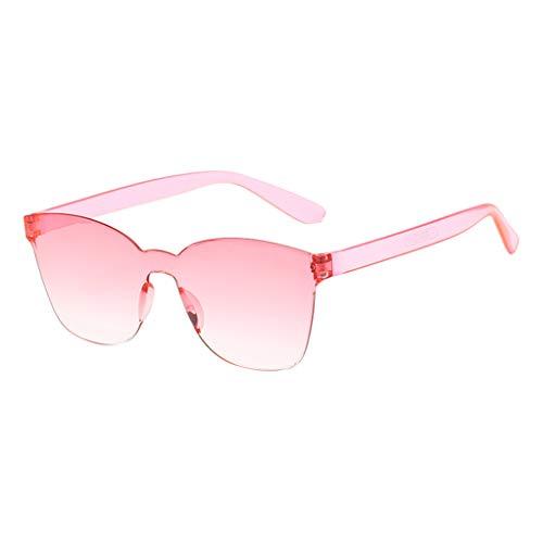 Xniral Einteilige Sonnenbrille Unisex Süssigkeiten Farben Rahmenlos Sonnenbrille(A)