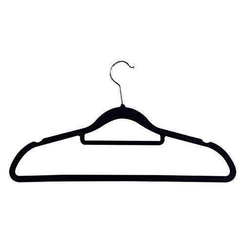 Mojawo Kleiderbügel mit Samtbezug - Bügel mit Hosensteg und Krawattenhalter sowie drehbaren Haken 10-30-50 Stück, Farben:Schwarz, Mengen:50 Stück