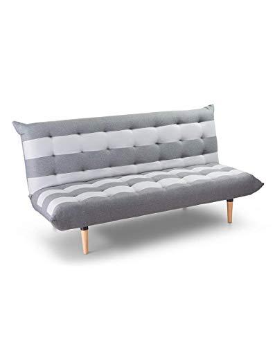 SWEET SOFA-Sofá Cama Zebra-Clic clac 3 plazas tapicería en Tela con Rayas de Color Gris Claro y Antracita 190 X 95 cm