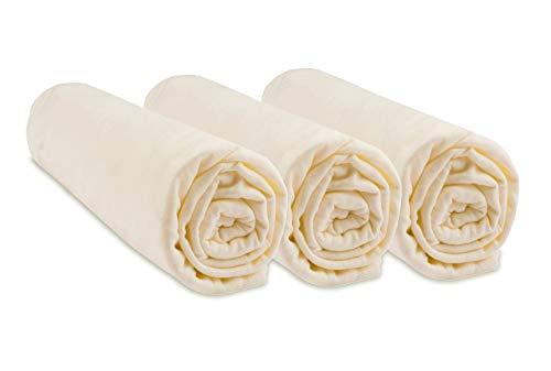 Lot de 3 Draps housse Coton Bio pour lit bébé 60x120-2 coloris disponibles (Ecru naturel)