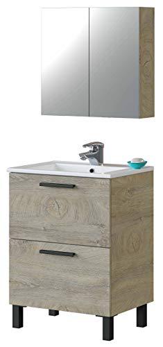 Miroytengo Mueble baño Aseo Color Roble Alaska 1 Armario 2 Puertas + Espejo 60x45 cm Lavabo CERÁMICO Incluido