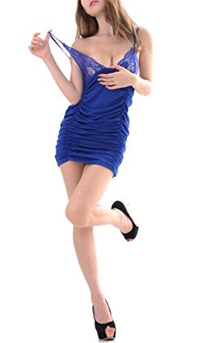 Befox Damen Sexy Dessous Babydoll Strap Lace Kleid Nachtwäsche gefaltet Krause Design